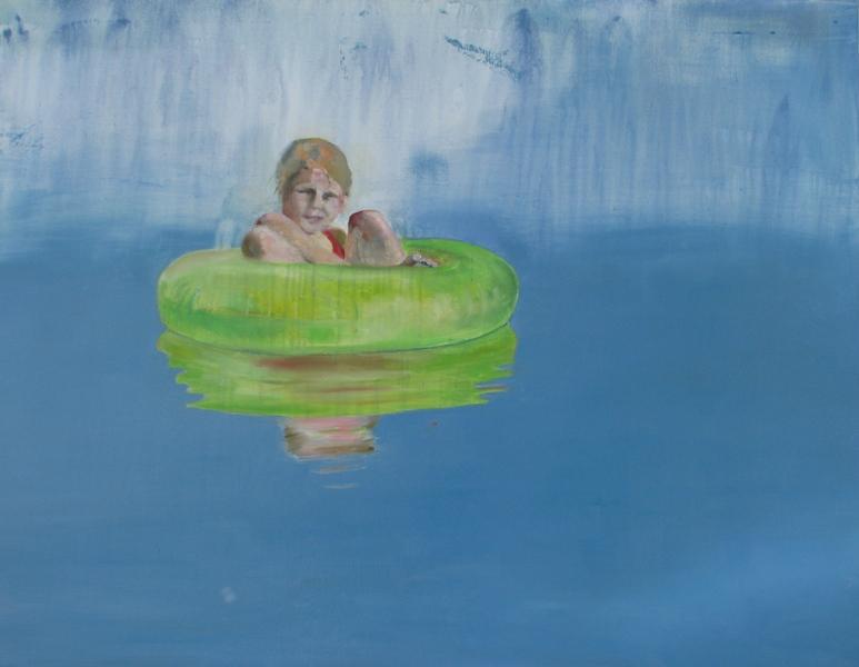 Pige i grøn badering - 100 x 120
