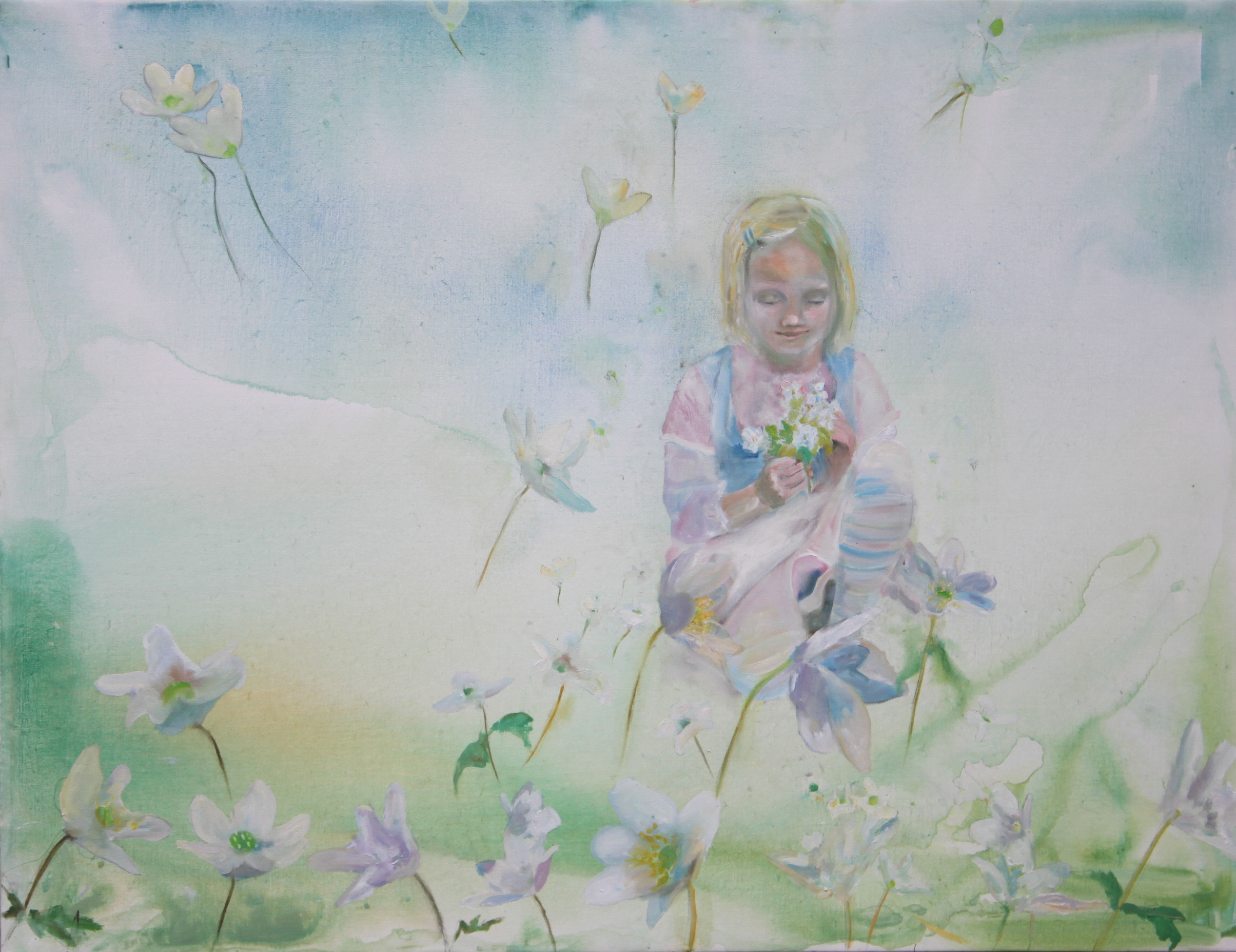 Pige med anemoner - 100 x 120