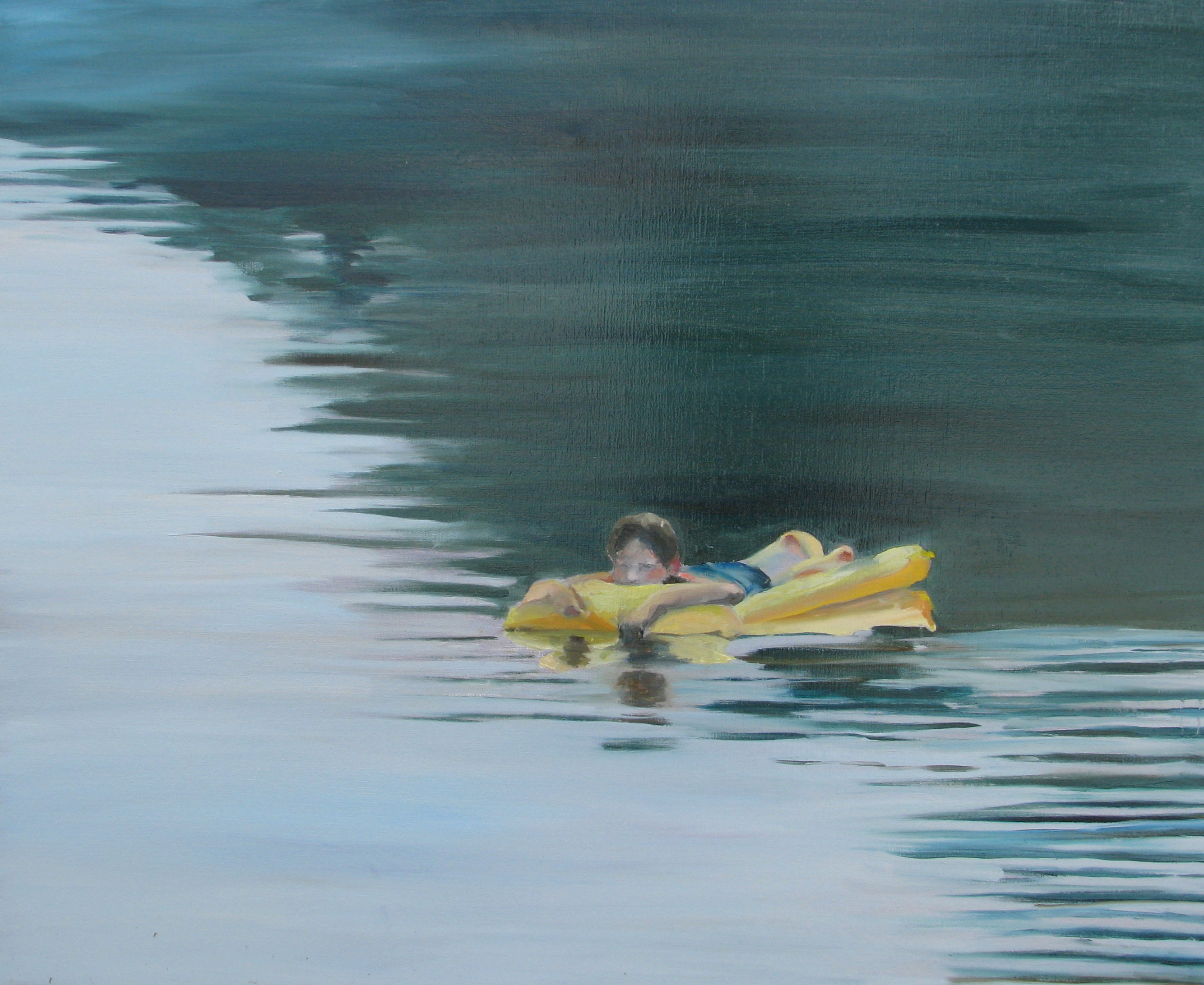 Yellow Raft in Blue Water - 100 x 120