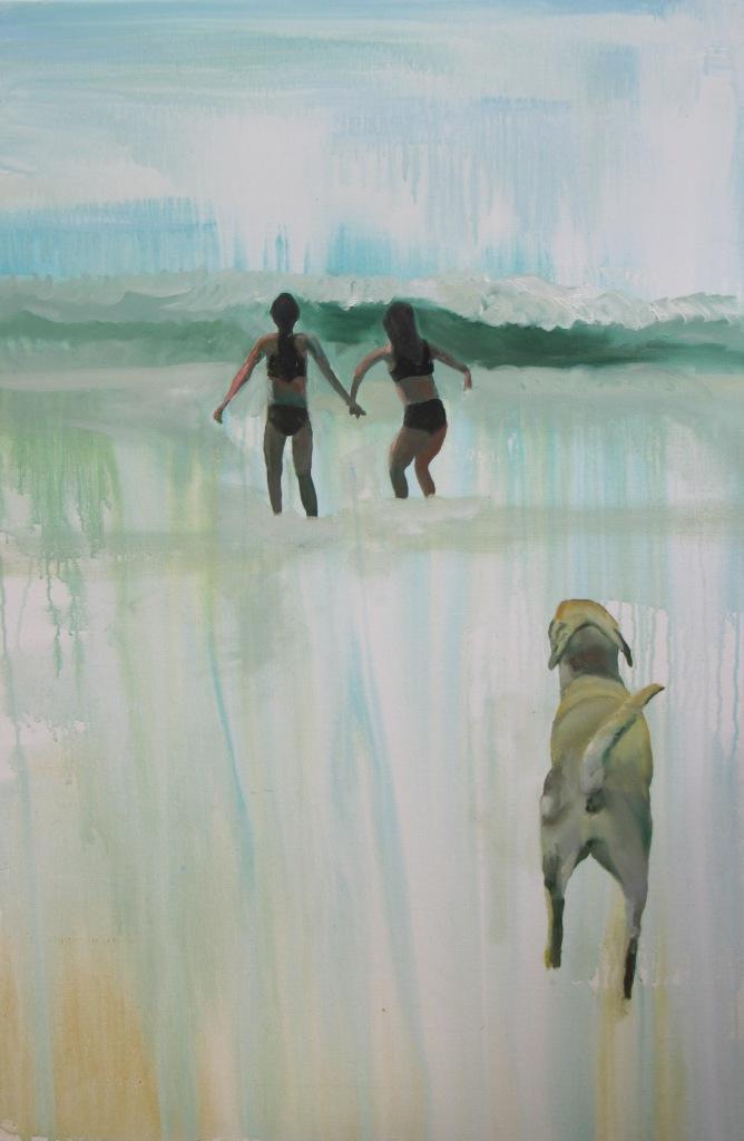 Piger på strand III - 120 x 80