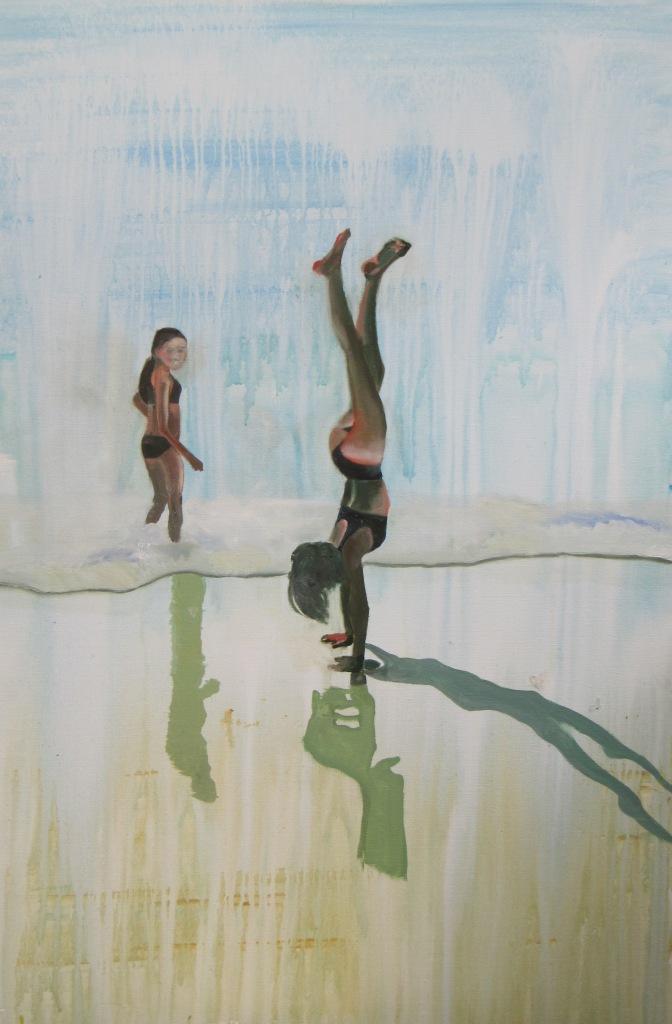 Piger på strand II - 120 x 80