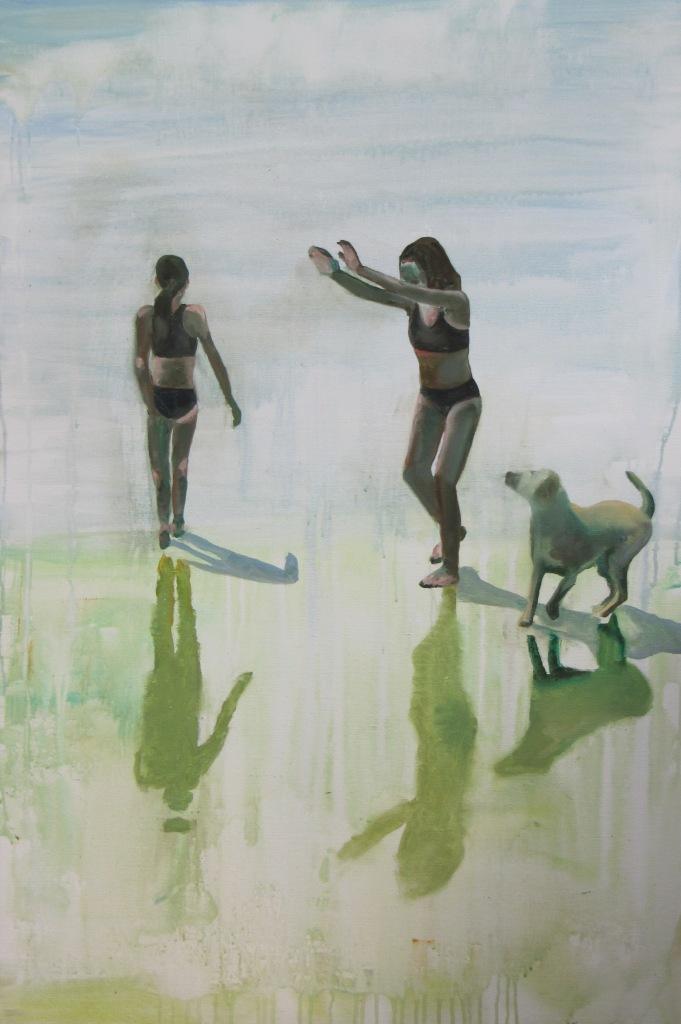 Piger på strand I - 120 x 80